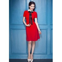 Đầm xòe fashion : Đầm xòe thiết kế thắt nơ cổ sơ mi xinh đẹp DXV113
