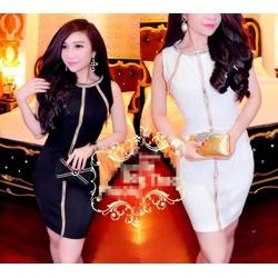 Đầm body đinh kim sa màu giống bella - DT1192