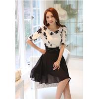 đầm xòe kết hợp áo thêu hoa và chân váy đẹp DX370