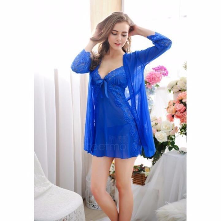 Áo choàng ngủ + váy ngủ màu xanh dương TK390 1
