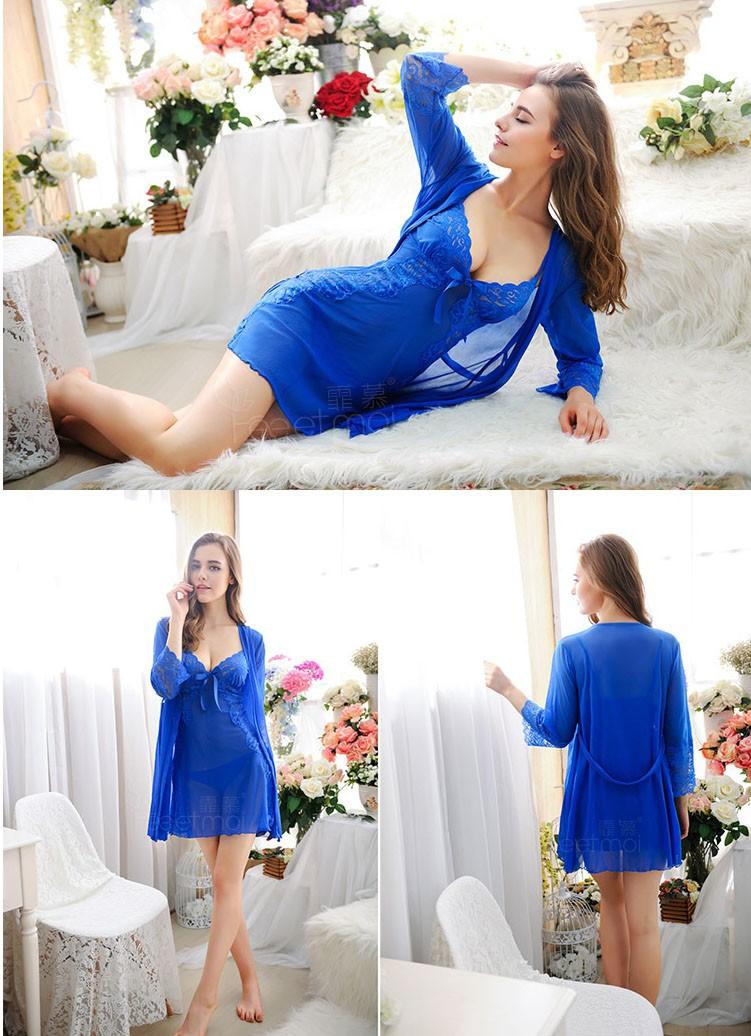 Áo choàng ngủ + váy ngủ màu xanh dương TK390 2