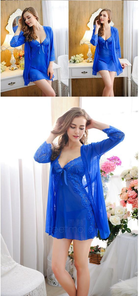 Áo choàng ngủ + váy ngủ màu xanh dương TK390 3