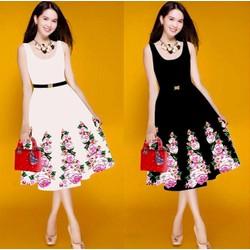 Đầm xòe sát nách in hoa kèm belt da cao cấp - D959