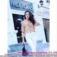 Áo kiểu đẹp : Áo kiểu dài tay thắt nơ sành điệu và thời trang AKN304