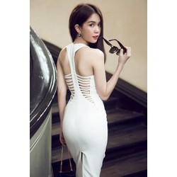 Đầm Ôm Cổ V Thiết Kế Cutout Sexy Như Ngọc Trinh - D2265