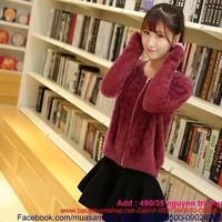 Áo khoác len thời trang lông vũ sang trọng hàng cao cấp AKL10