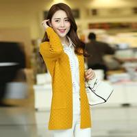 Áo khoác len đan ô mùa thu.