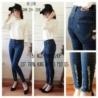 Quần jeans 2 da xù bông ống