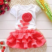 Sét áo váy hoa cho bé gái