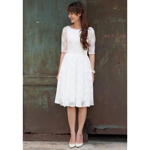 Đầm dạ hội ren form dài tay lỡ - Có size lớn - SD476