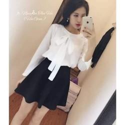 Shop Cún - SALE Off- Sét áo Sơ Mi Voan Cột Nơ Chân Váy Xòe Cực Xinh