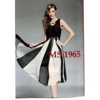 Đầm maxi váy trắng đen