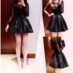 Đầm đen xòe đính kim sa tay dài phối lưới - D963