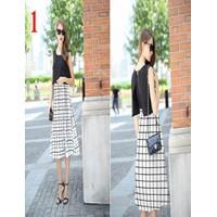 Đầm maxi 2 túi giả chân váy sọc vuông
