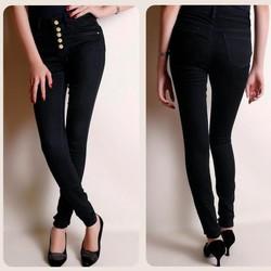 QD81-Quần jean đen lưng cao 5 nút