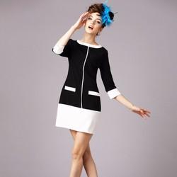 Đầm suông phối trắng đen thanh lịch nơi công sở