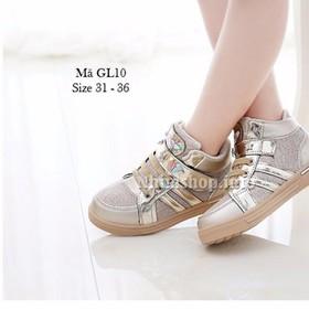 [thanh lý size 31mất 1 sao gắn ở quai dán] Giày học sinh cho bé gái kiểu dáng cá tính GL10 Trắng - GL10_TRANG