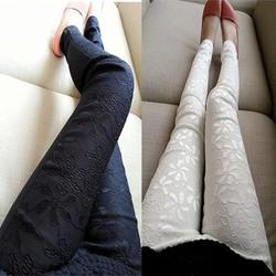 Quần legging kaki ren hoa nổi bật-Q306