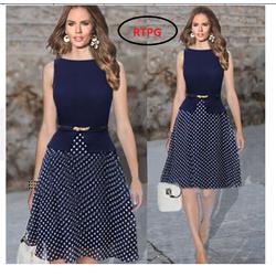 Đầm xòe chấm bi công sở thời trang TH08424