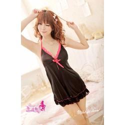 Váy Ngủ Đẹp Rẻ Lụa Nơ Hồng MS501