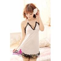 Váy Ngủ Sexy Giá Rẻ Lụa Trắng Ren MS502
