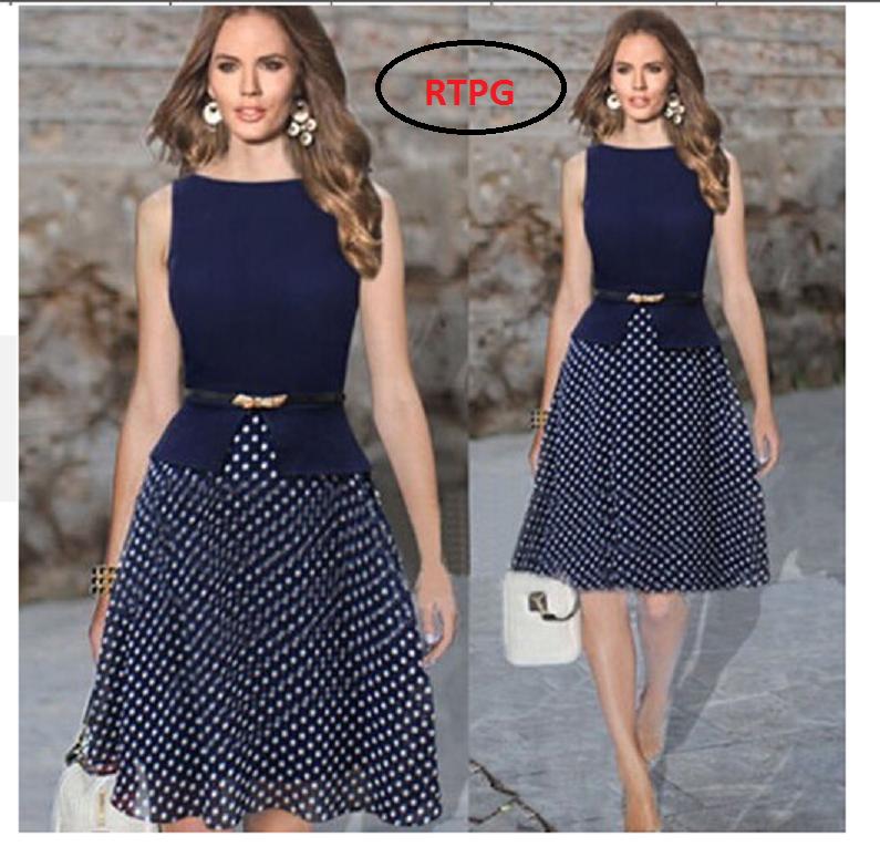 Đầm xòe chấm bi công sở thời trang TH08424 1