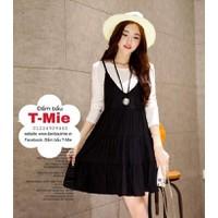 Set yếm và áo tay dài, style Korea xinh xắn
