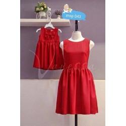 Combo 2 đầm đỏ tùng xòe cho mẹ và bé