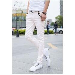 Quần kaki trắng phối đen vải co giãn