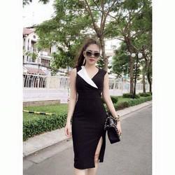 Đầm body cổ vest phối màu cách điệu - DPC135