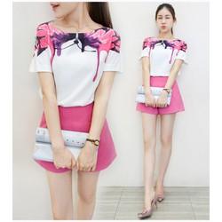 Đồ bộ nữ áo họa tiết phối quần short thời trang - HM468