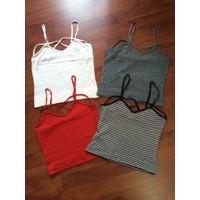 Áo 2 dây len crop dài chéo viền M ngực