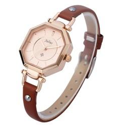 Đồng hồ nữ dây da chính hãng JU1021 nâu mặt bát giác - Thương Hiệu