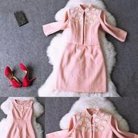 Set đầm và áo khoác kết hoa