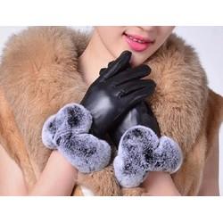 Sỉ lẻ Găng tay cảm ứng cổ lông da lót lông, sang trọng  chống nước nhẹ