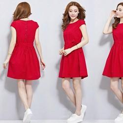 HÀNG MỚI VỀ !!!!   Đầm xòe denim chấm bi Sakura - 0635