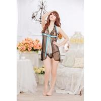 Váy Ngủ Dễ Thương Ren Nơ Xanh MS513