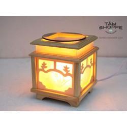 Đèn xông tinh dầu Gỗ vuông màu tự nhiên