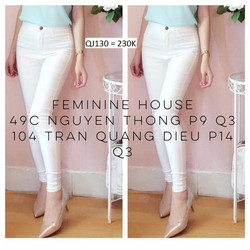 Quần jean trắng lưng cao 1 nút  QJ130