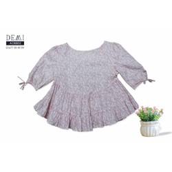 Áo babydoll hoa nhí hồng phấn tay thắt nơ
