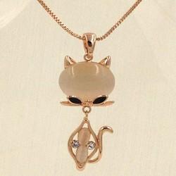 Dây chuyền trang sức mạ vàng mặt hình con mèo VO56200N