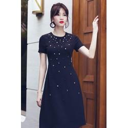 Đầm Đen Kết Pha lê Sang Trọng Giống HH Thu Thảo - D2477