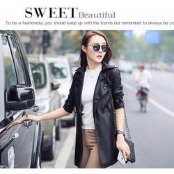 Áo khoác da nữ dáng dài cao cấp kiểu mới 2015  AKD 05