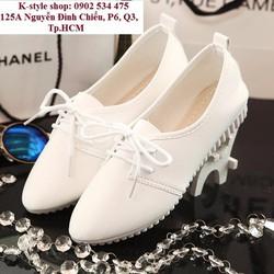 Giày Oxford nữ màu trắng kem Hàn Quốc
