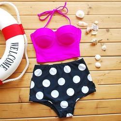 Hình thật-Bikini áo croptop quần cạp cao chấm bi