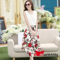 Đầm dáng dài chân váy hoa hồng