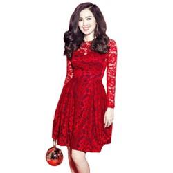 Đầm Dự Tiệc Ren Xòe Tay Dài Cao Cấp.2121