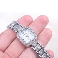 Đồng hồ Nữ Cartier Mặt Chữ Nhật Đính Đá D0561-DHA164 - Kim Quay - Bạc