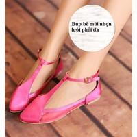 Giày búp bê mũi nhọn lưới màu hồng BB43