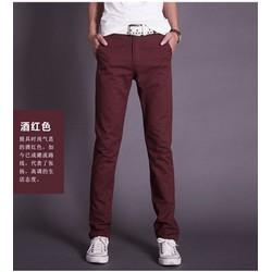 Quần kaki nam màu đỏ đô ống côn dành cho nam trẻ trung,cá tính